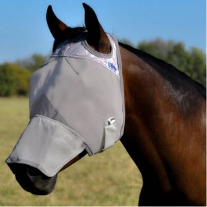 Grey soft coated nylon fly mask covering eyes, forehead and nose area