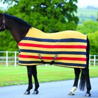Rambo Deluxe Fleece Horse Rug in Gold with navy and red stripes