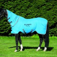 Side view of a black horse wearing the blue Rambo Dry Rug Supreme with neck rug