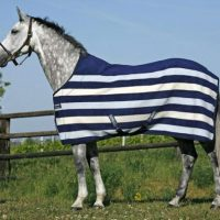 Rambo Deluxe Fleece Horse Rug in Navy with white and pale blue stripes
