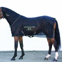 Black lightweight mesh Sportz-Vibe ZX Horse Rug in use