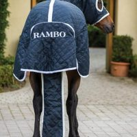 Rear view of the Rambo Show Set rug showing the extra wide tail flap and detachable tail bag