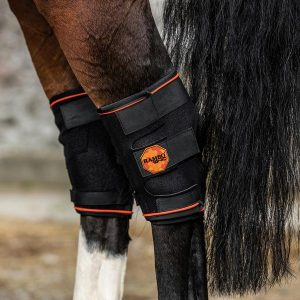 A pair of hock boots in black and orange from the Rambo Ionic range