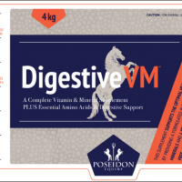 Label for a 4kg tub of Poseidon Equine's Digestiv VM supplement