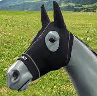A horse mannequin wearing a black Hidez Compression hood with ears