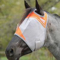 Orange Cashel Crusader Flymask on a dappled brown and white horse