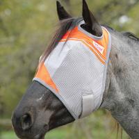 Orange Cashel Crusader Flymask on a dappled brown and white horse